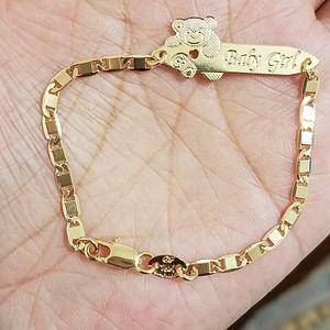 18k GF little boy with teddy bear bracelet. Gold